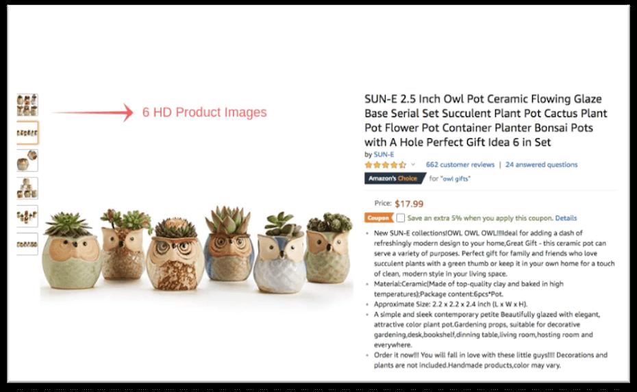 listing for ceramic owl planters
