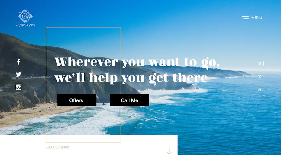 travel website copy example