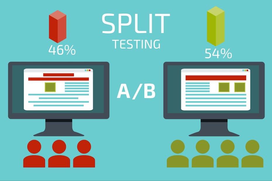graphic showing split testing