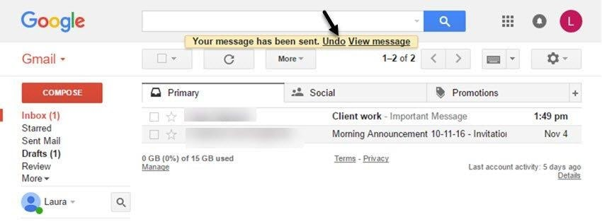 Highlight on the undo option in Gmail