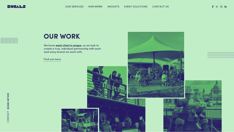 creative website example with mint green background with dark blue text on top