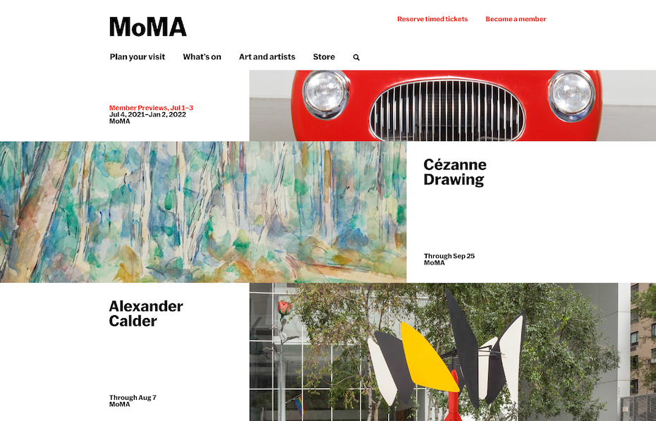 Black text on white in high contrast website of MoMa