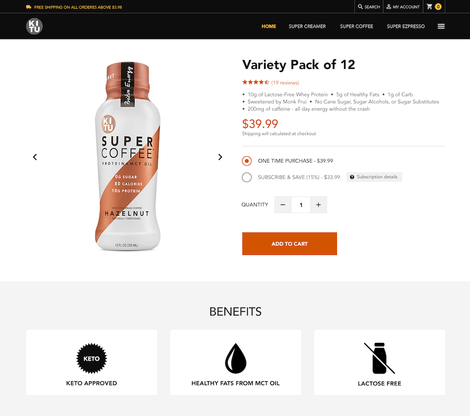 Product page design for a coffee brand