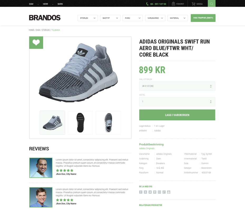 Product page for a shoe brand
