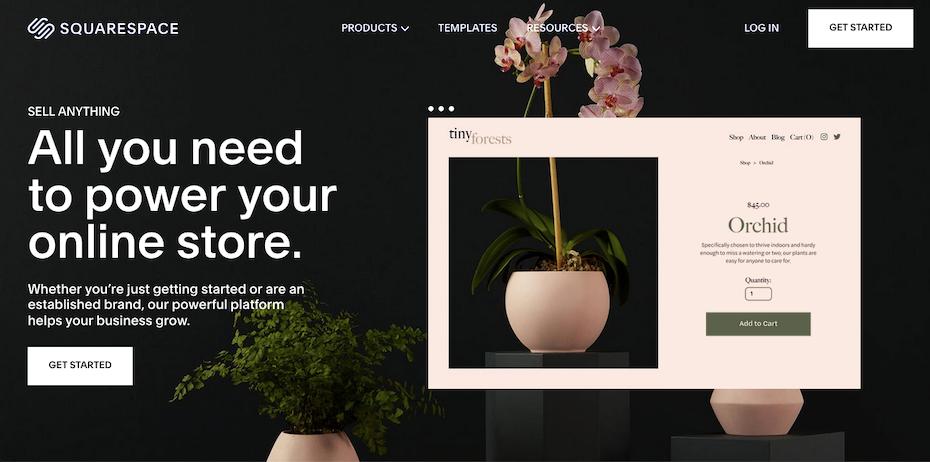 Screenshot of Shopify alternatives: Squarespace