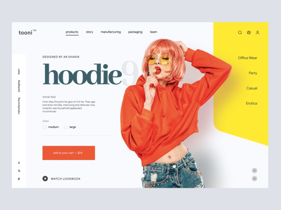 Product page design for a fashion brand