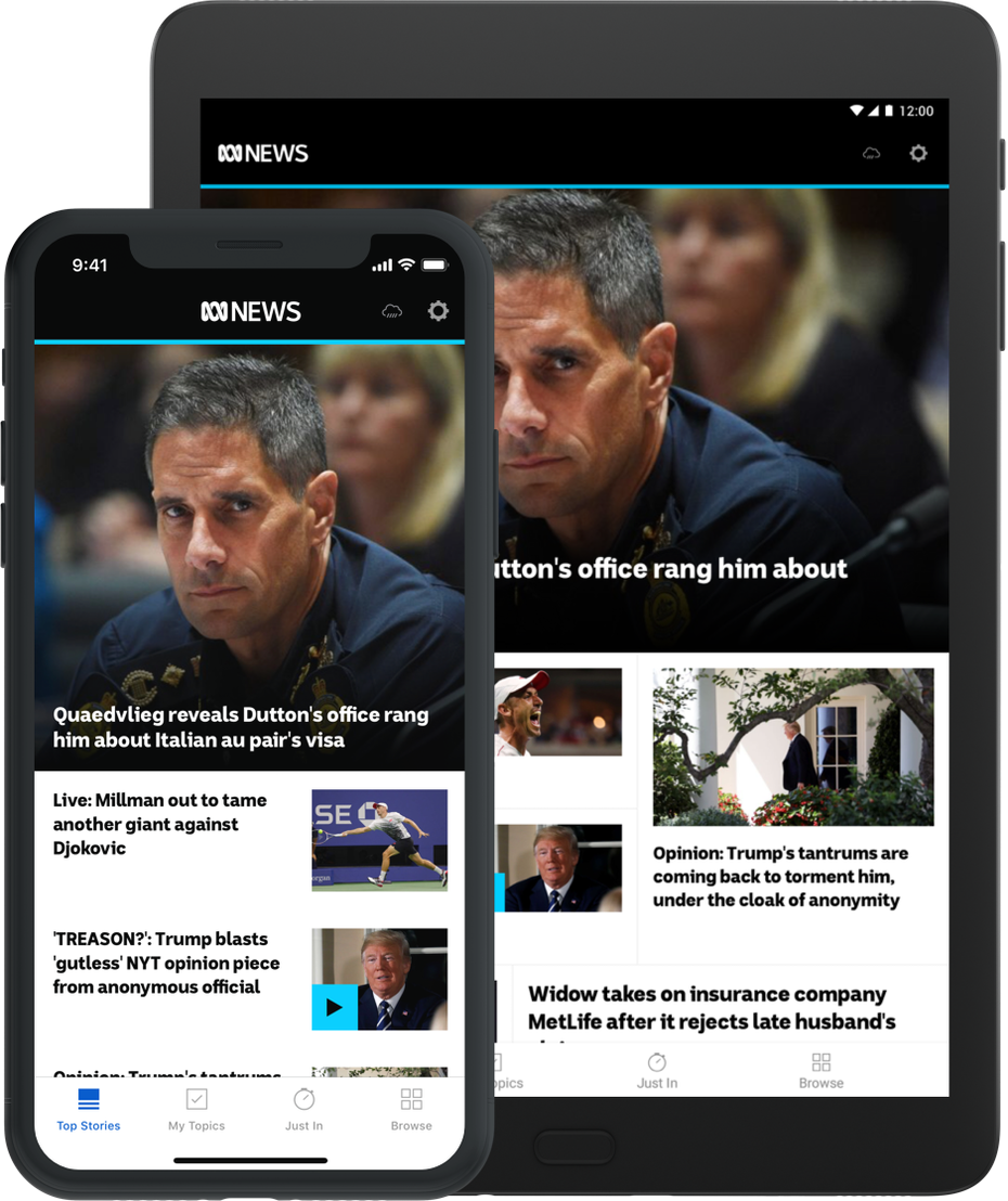 Mobile and tablet showing clean interface of ABC news app.