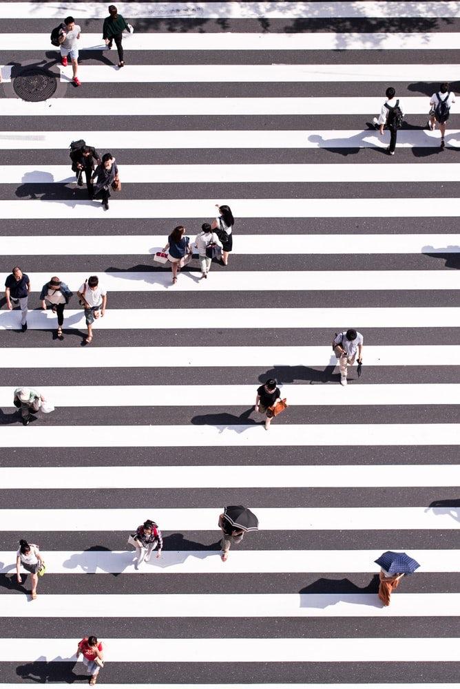 crossing the road in Japan