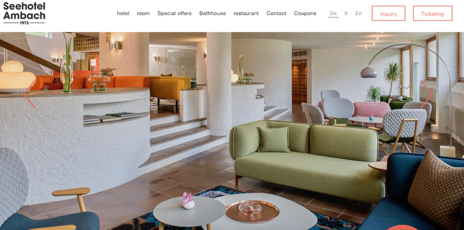 hotel website example with a minimal photography and excess in vibrant color