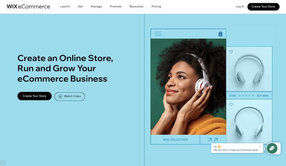 Screenshot of Shopify alternatives: Wix