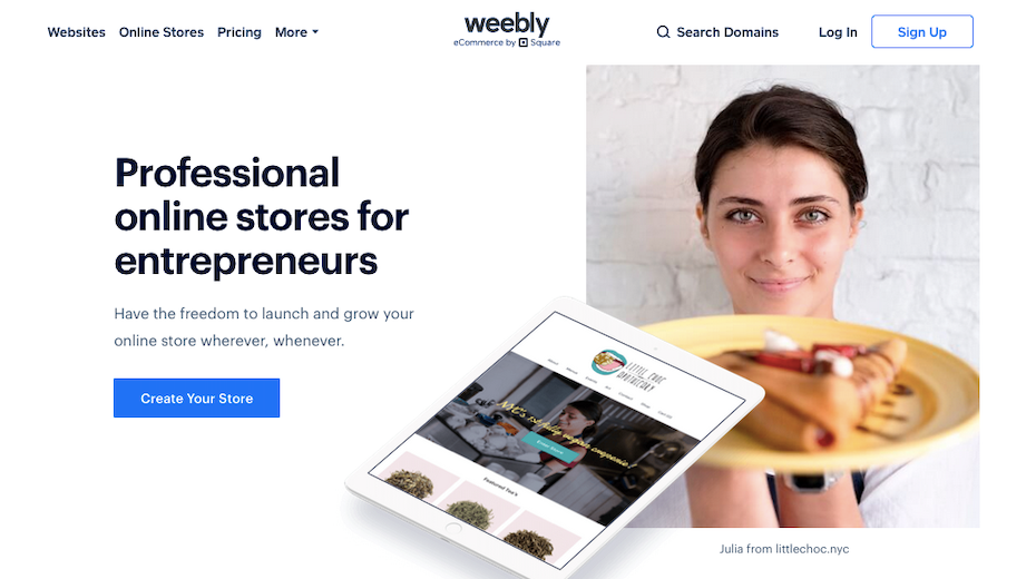 Screenshot of Shopify alternatives: Weebly/Square Online Store