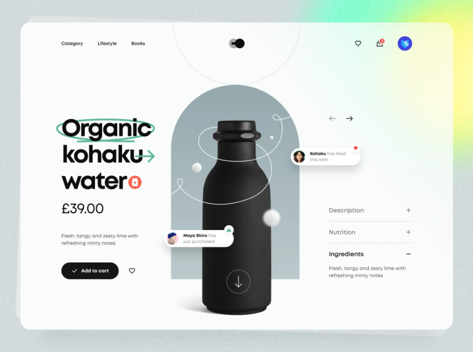 Product page design for a water bottle design