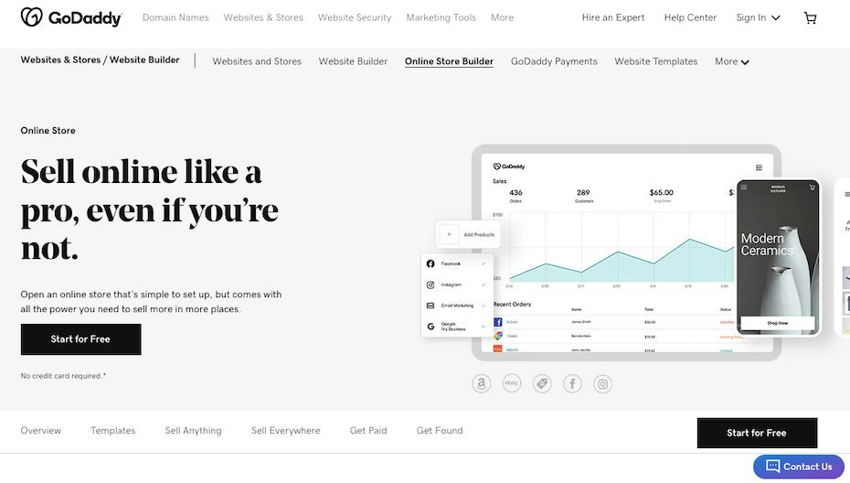 Screenshot of Shopify alternatives: GoDaddy