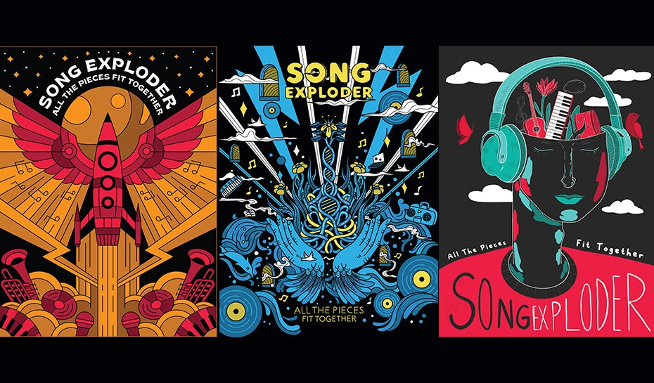 colorful illustrated posters for Song Exploder by Skilline, Eliza Osmo and Jen Se