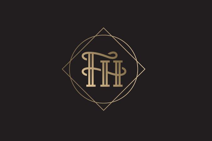 Gold classic monogram logo design
