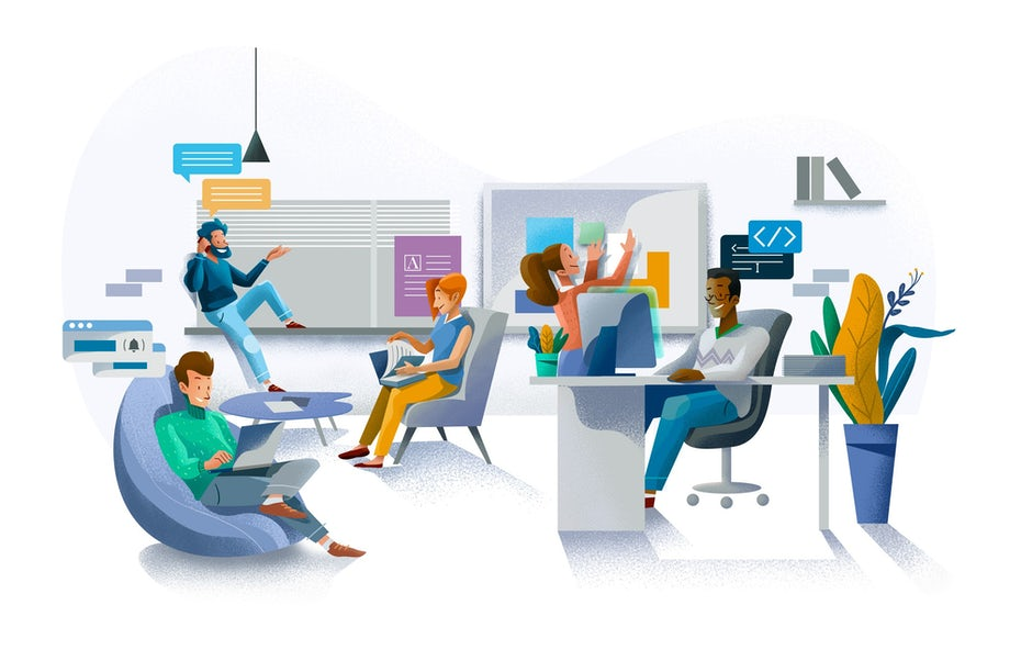 Illustration of office employees at work