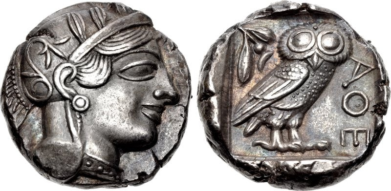 Ancient Greek coin with monogram