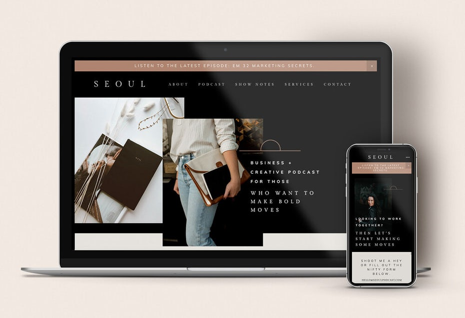 laptop and phone showing Seoul template