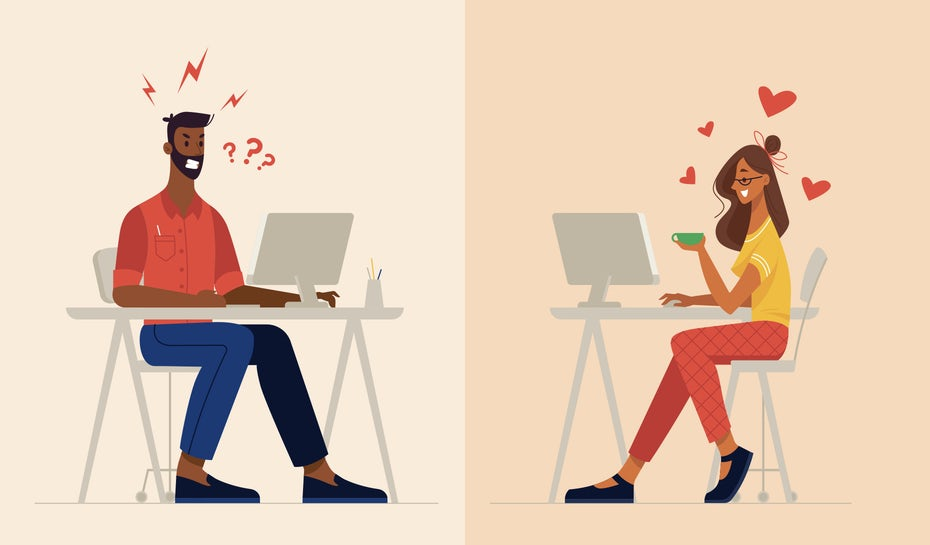 illustration of two people viewing a best and worst digital campaigns