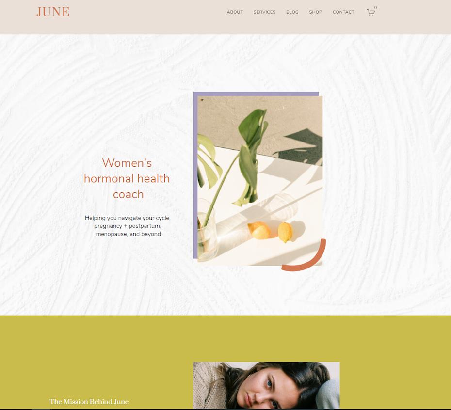 screenshot of June template