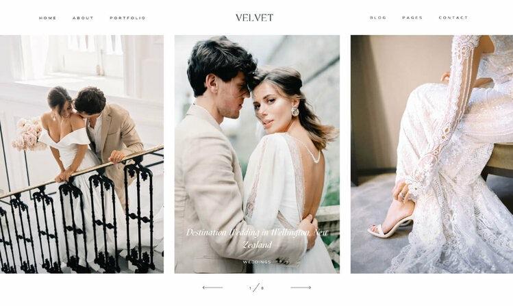 screenshot of Velvet template