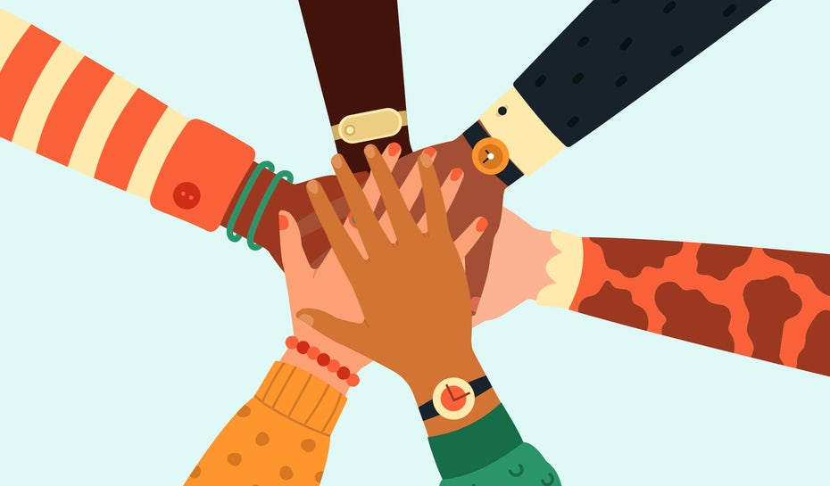 universal design means designs for everyone, hands joining together in the spirit!