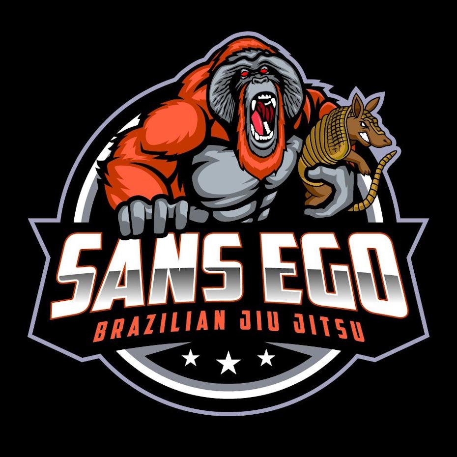 logo showing an orangutan holding an armadillo