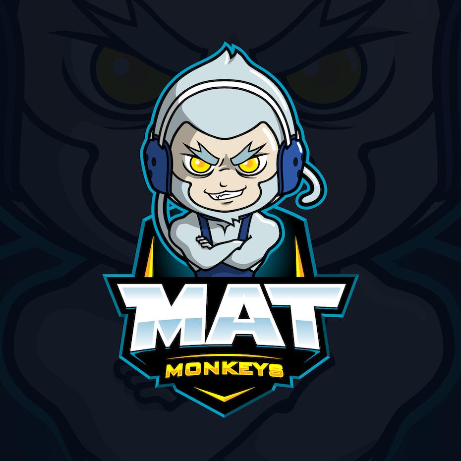 bold blue logo showing a monkey in wrestling gear