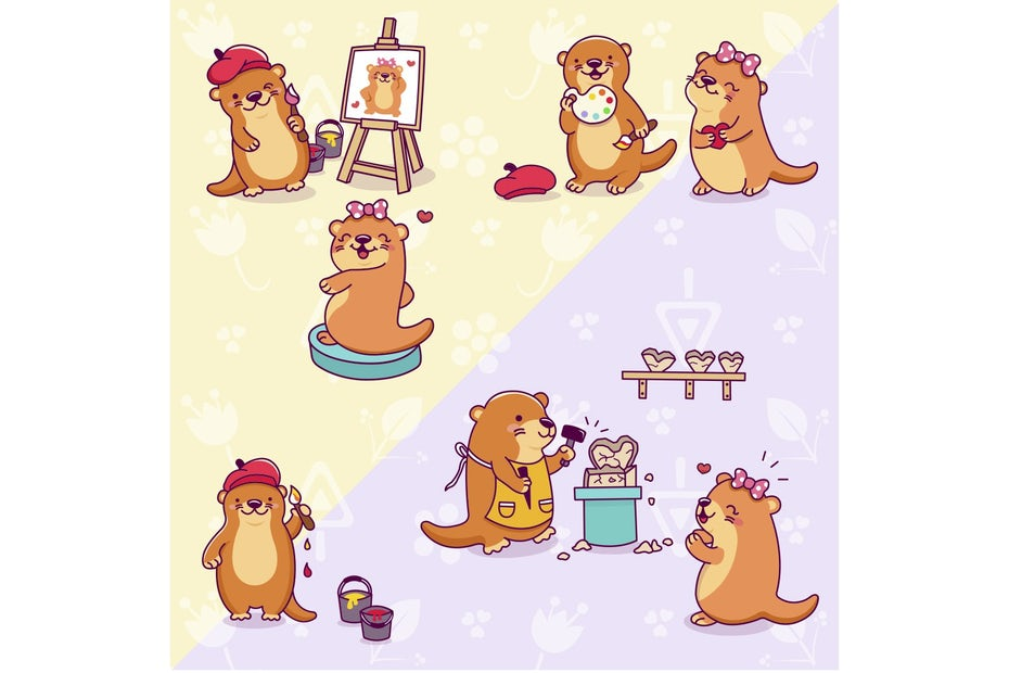 Otter mascots for an art brand