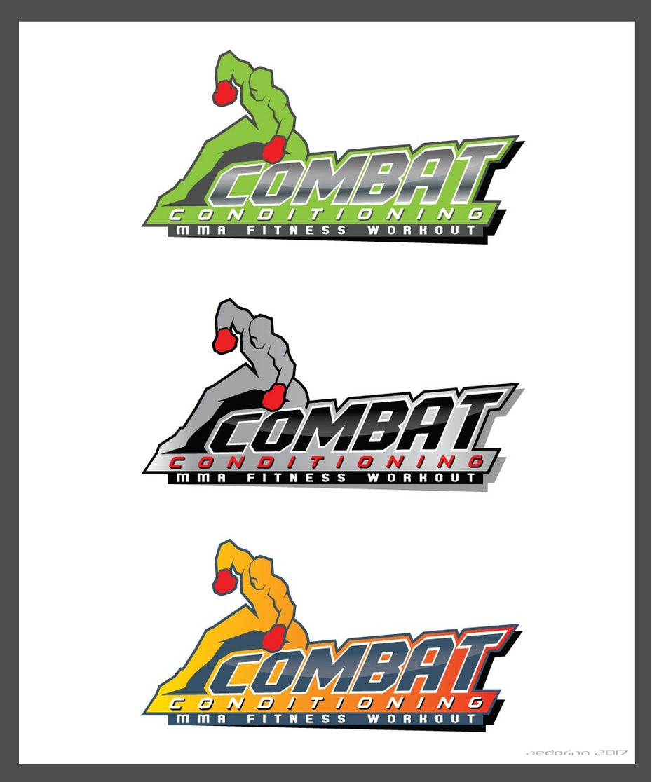 three versions of an MMA logo, one in green, one in gray and one in orange