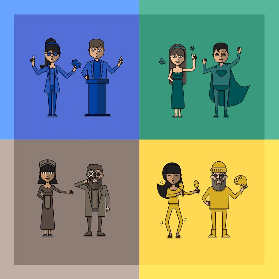 Character illustrations for a personality test