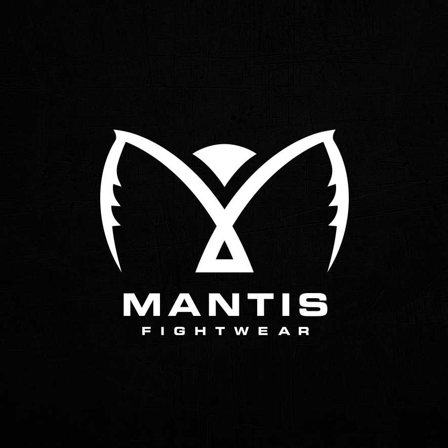 white logo depicting an abstract mantis against a black background