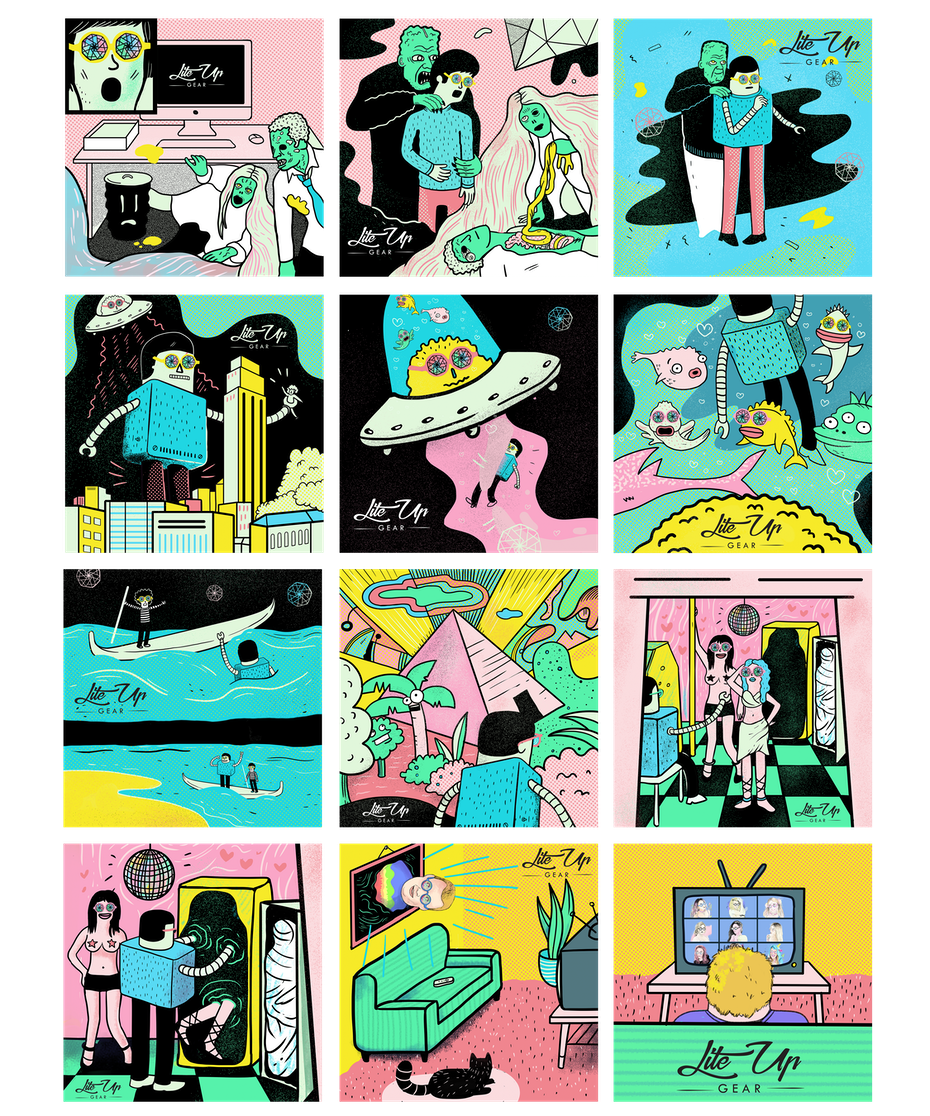 colorful comic showing people, aliens and various spaces