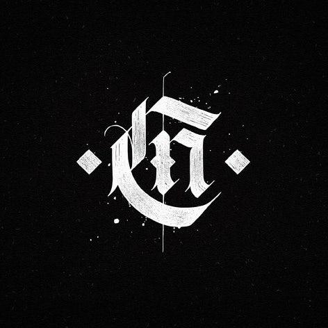 Calligraphic style monogram logo design