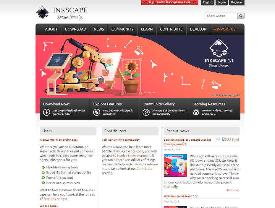 screenshot of inkscape.org homepage