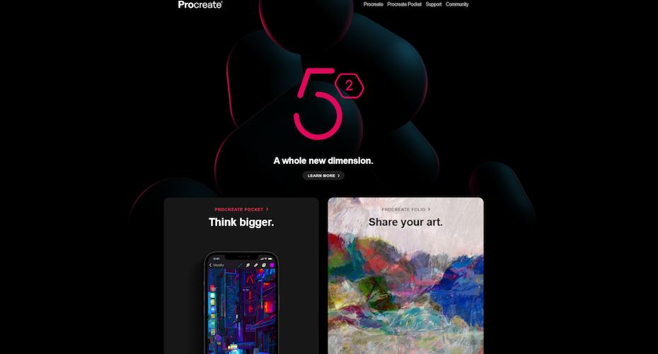 screenshot of Procreate homepage
