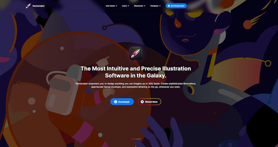 screenshot of Vectornator homepage
