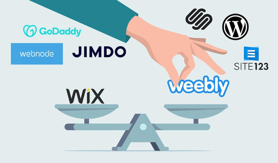 logos of the other Wix alternatives on a weighing scale