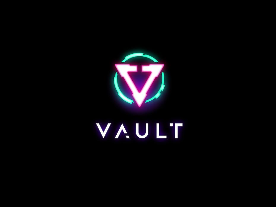 neon logo on darkmode