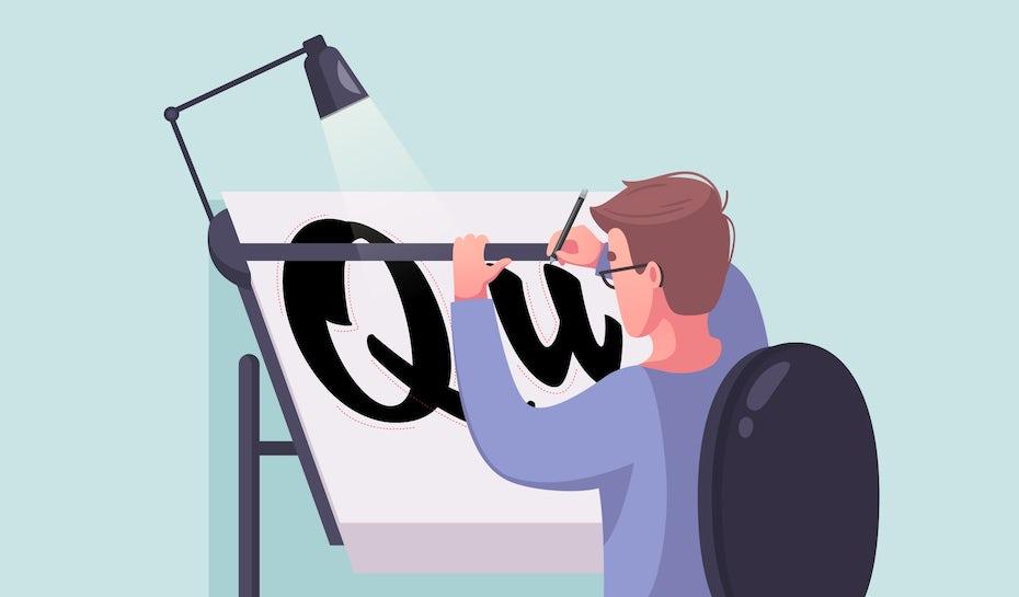 Illustration of a designer creating a typeface