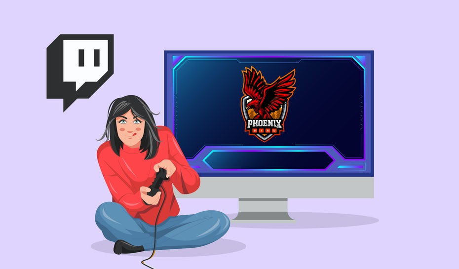 Illustration of a person gaming and streaming it on Twitch