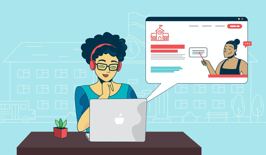illustration of user perusing school website design