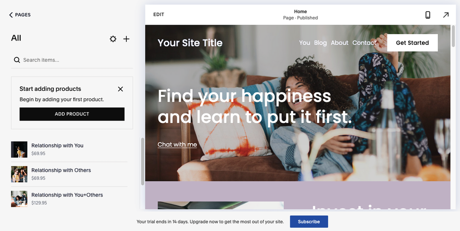 Best website builders for ecommerce example: Squarespace
