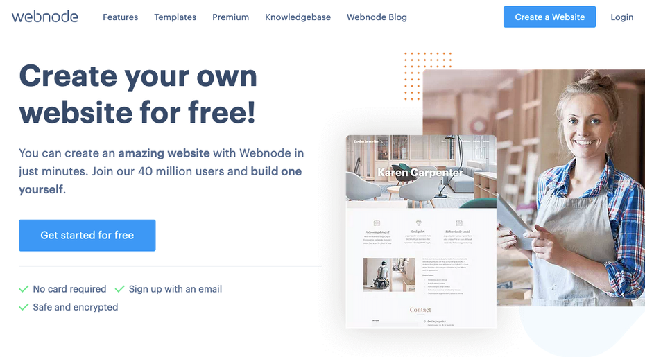screenshot of webnode homepacge
