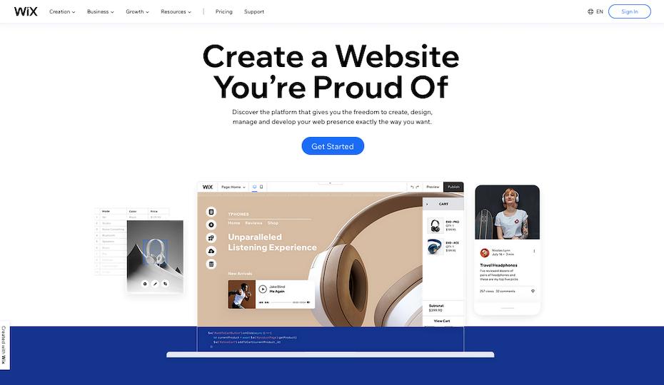 Screenshot of Wix.com homepage
