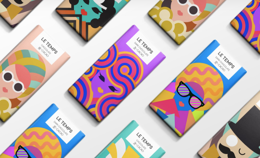 Eye-catching vector illustrated Le Temps packaging via Packaging of the World