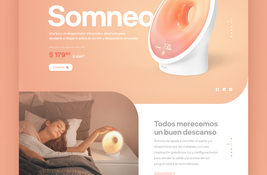 peach, soft digital design for Somneo product