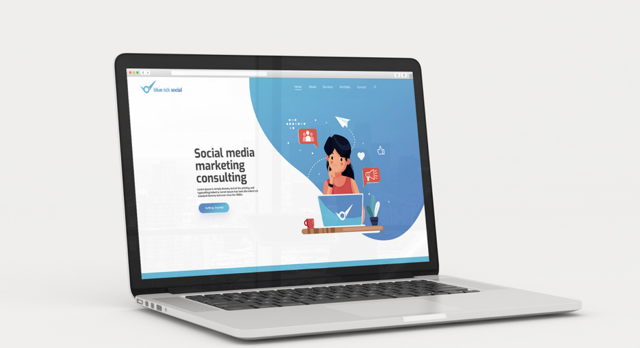 a laptop showing the webpage for a social media marketing consulting business