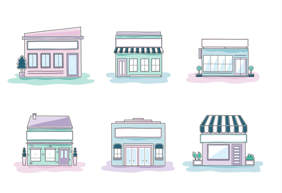 six illustrations of different store fronts