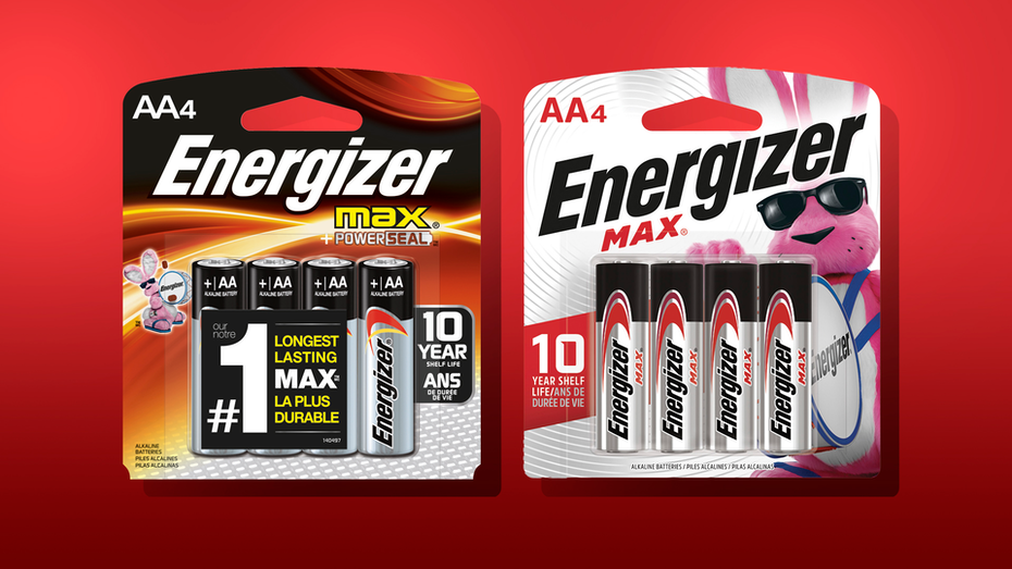 there are two packs of energizer. The package on the right shows the old design with black and copper colors, while the left package shows the new design with bigger bunny and white background